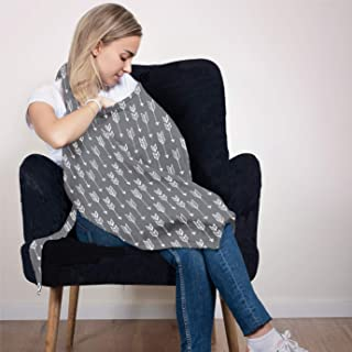 Cotton Nursing Cover - Large Breastfeeding Cover with Built-in Burp Cloth & Pocket - Soft, Breathable, Chemical-Free, 360° Coverage, Gray Nursing Cover for Breastfeeding by San Francisco Baby