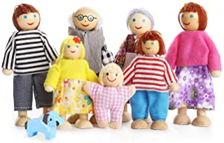 PUCKWAY Lovely Happy Family Dolls Playset Wooden Figures Set of 7 People with Dog for Kids Children Toddlers Dollhouse Pre...