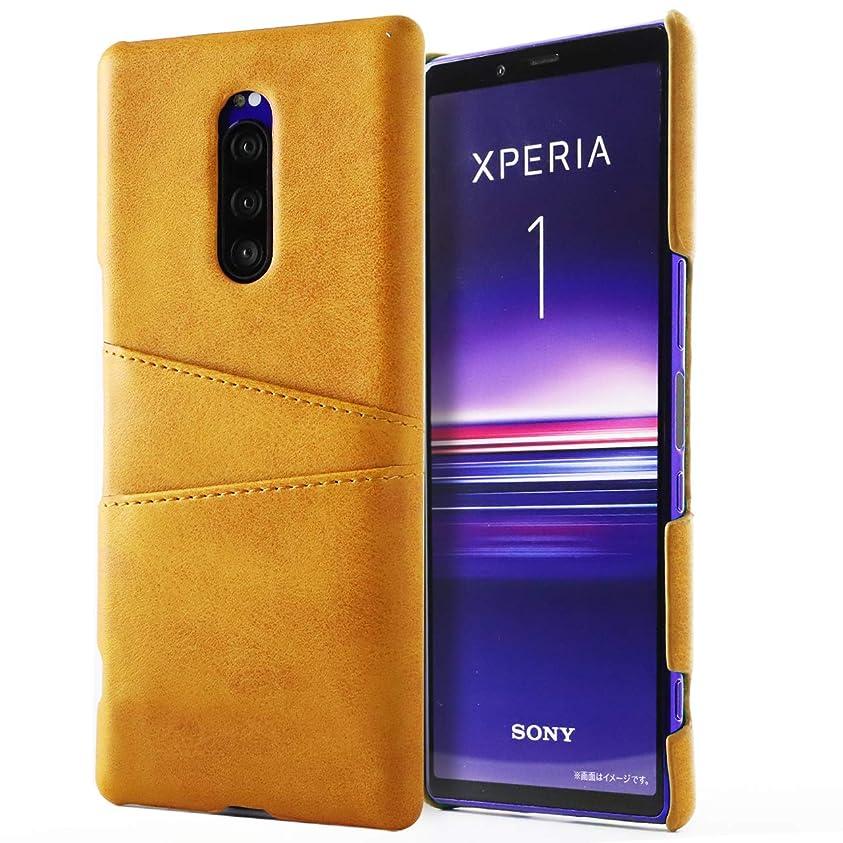 商標湿った読み書きのできないXperia 1 ケース Xperia1 スマホケース カバー カード入れ レザー エクスペリア1 [Orancio] キャメル