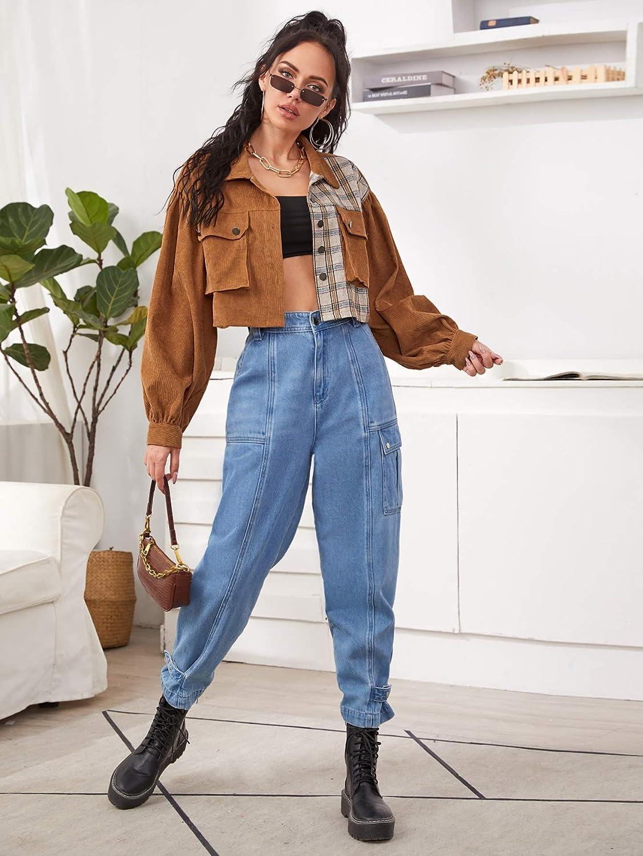 Verdusa Women's Pocket Front Long Sleeve Plaid Casual Outerwear Corduroy Jacket