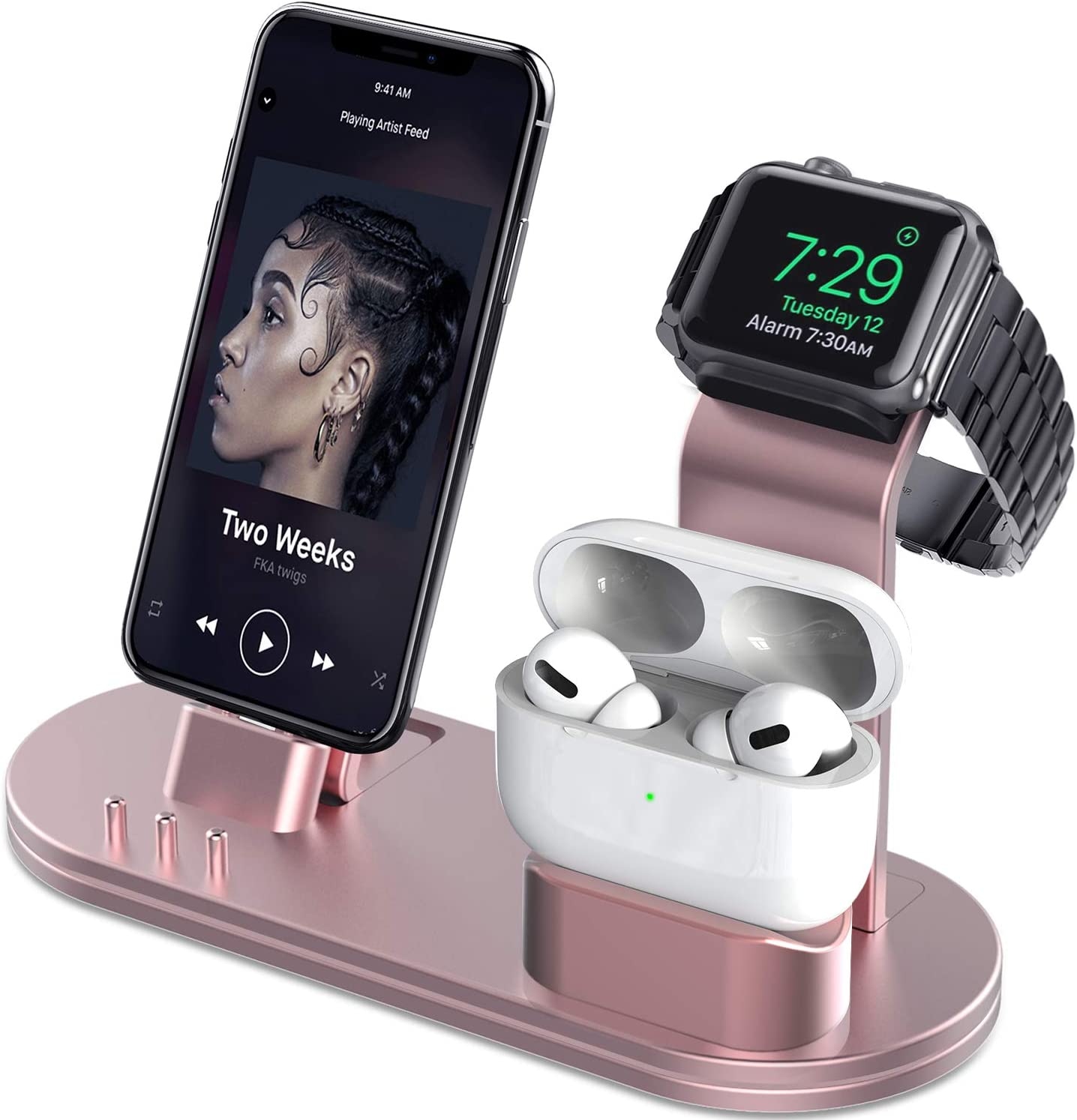 OLEBR Charging Stand Compatible with AirPods, iWatch Series 6/SE/5/4/3/2/1,Phone 12/12 Pro/ 12 Pro Max/11/11 Pro/11 Pro Max/Xs/X Max/XR/X/8/8Plus/7/7 P /6S /6S P(Original Cable Required)-Rose Gold
