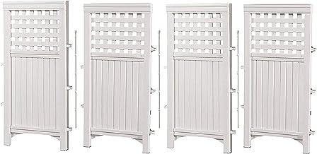 Best Suncast 4 Enclosure Freestanding Steel Resin Reversible Panel Outdoor Screen TRE, 4 panles (pack of 1), White Review
