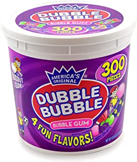 Tootsie Roll Dubble Bubble - Assorted Flavors, Reusable Tub (300 Count) Peanut Free, Gluten Free
