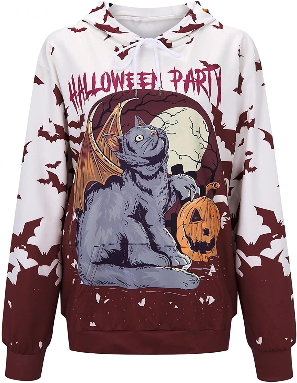 LEIYAN Halloween Funny Hoodies for Women Long Sleeve Pumpkin Skull Print Casual Graphic Sweatshirt Pullover with Pockets