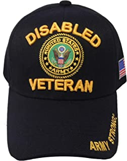US Warriors U.S. Army Disabled Veteran with Army Emblem on the Visor Baseball Hat