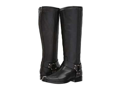 Frye Phillip Harness Tall Wide Calf Black Waxed Veg Calf Order Cheap Price 43UFG