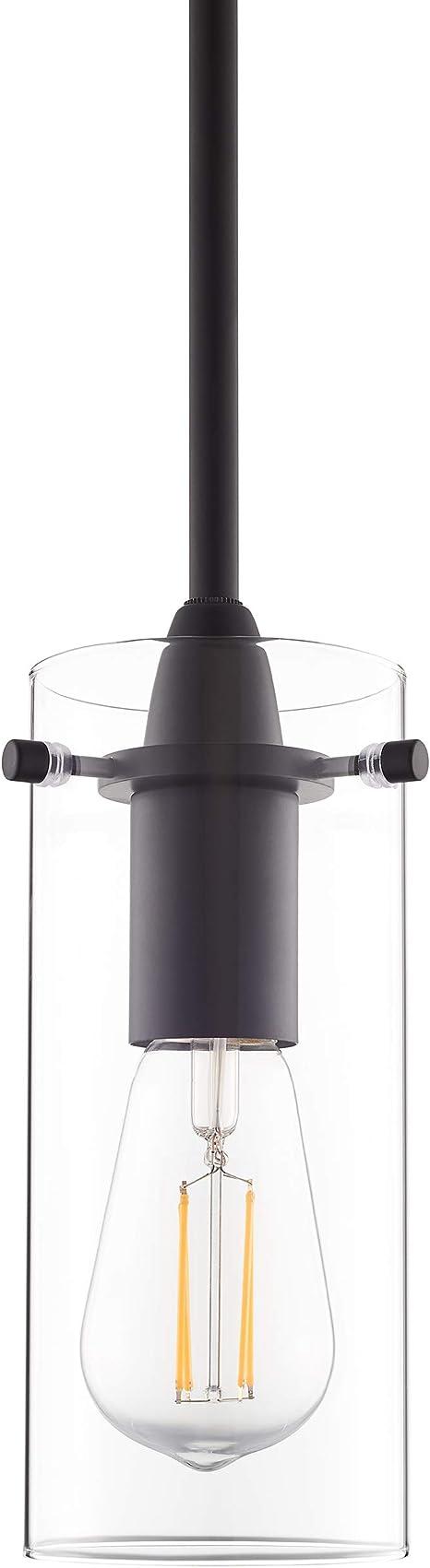 Black Pendant Light Modern Effimero Mini Pendant Lighting For Kitchen Island Decor Clear Glass Fixture With Small Lamp Shade Amazon Com