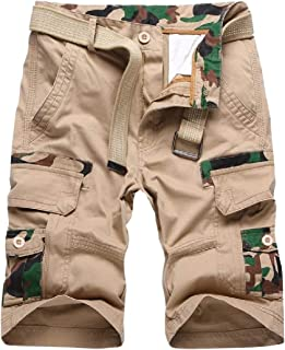 AngelSpace Men Big and Tall Simple Multi Pockets Cotton Twill Jogger Short Pant