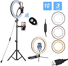 10� Led Ring Light with Stand and Phone Holder,Mini Selfie Ring Light Circle with Remote Control, 3 Light Modes and 10 Brightness Levels for Makeup, Photography, Live Streaming, Vlog SXIYA