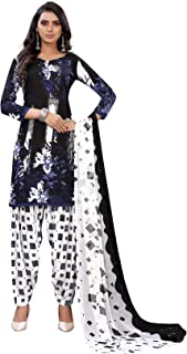 TreegoArt Fashion Women's Wonderful Design Printed Crepe Unstitched Dress Material -(Free Size) Navy Blue