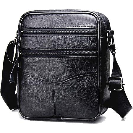 MANNUOSI Shoppers y bolsos de hombro piel autentica Bolsos para hombre vintage Business Bolsos de mano casual Bolsos cruzados multifuncional Bolsos Negro