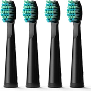 Fairywill Electric Toothbrush Brush Head x 4 for Models of FW-D1/FW-D3/FW-D7/FW-D8/FW-917 Sonic Toothbrushes Black