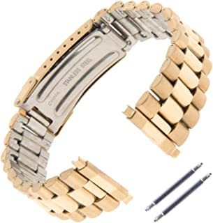 Unisex President-Style Non-Expansion 18-23mm Stainless Steel Watch Band 1536