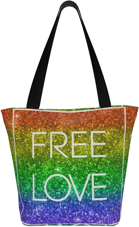 Free Love Rainbow Pride Themed Printed Women Canvas Handbag Zipper Shoulder Bag Work Booksbag Tote Purse Leisure Hobo Bag For Shopping
