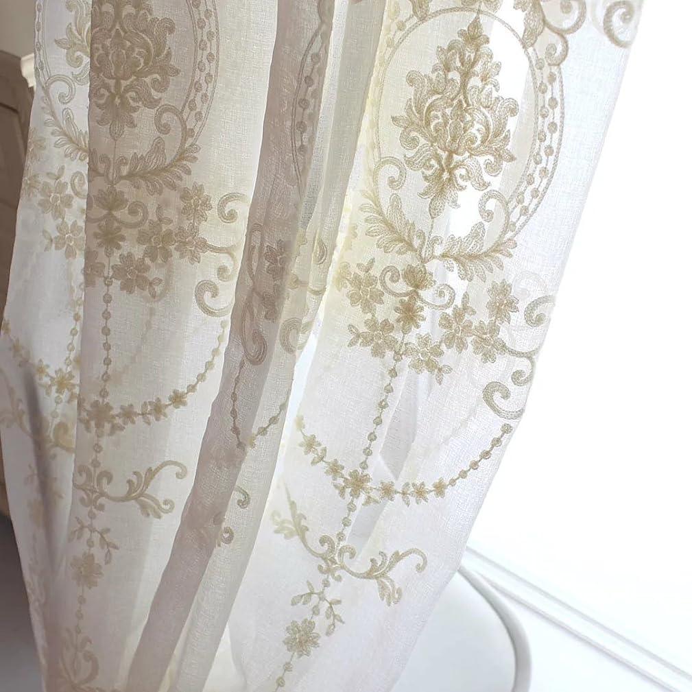 規範請負業者スクレーパー刺繍カーテン レースカーテン オーダーカーテン カーテン 刺繍 オーダーサイズ可 おしゃれ 花柄 ヨーロッパ ベージュ 薄手 田園風 柔らか 高級感 フック付き リビング 出窓 YKFN