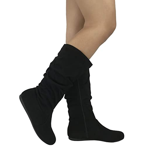 48bc4895a Wells Collection Womens & Girls Slouchy Wonda Boots Soft Flat to Low Heel  Under Knee High