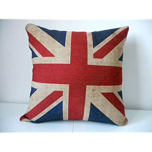 Decorbox The Union Jack British Flag Cotton Linen Square Decorative Throw Pillow Case Cushion Cover 18