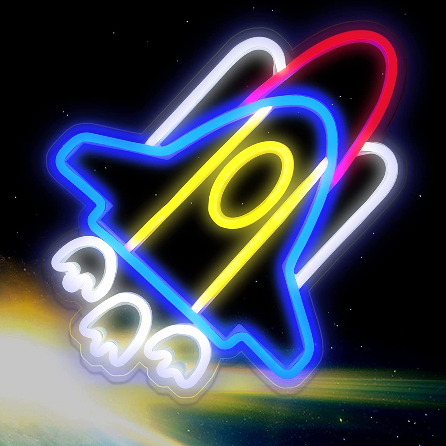 IMEGINA Neon Sign Max 60% OFF Space Shuttle Lights Rocket Attention brand Signs