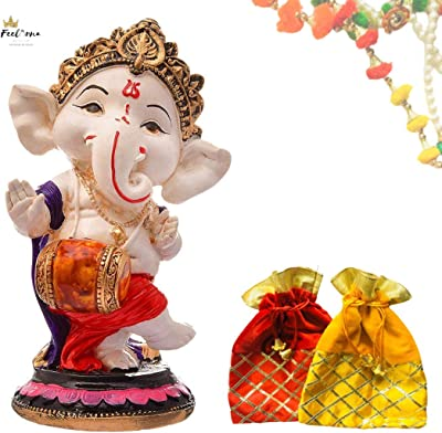 FeelOrna Free 2 Gifting Potlis with Handcrafted Resine Little Ganesh Dancing Sculpture Showpiece for Home & Office Decor (Dhol)