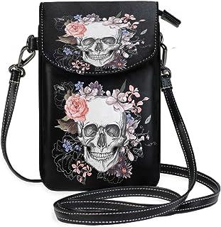 ZZKKO Mini-Umhängetasche mit Totenkopf, Blumenmuster, für Handy, Geldbörse, Geldbörse, Handtasche, Leder, für Damen, Freiz...
