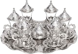 Lot de 6Verres à thé traditionnels turcs et soucoupes (service en argent)