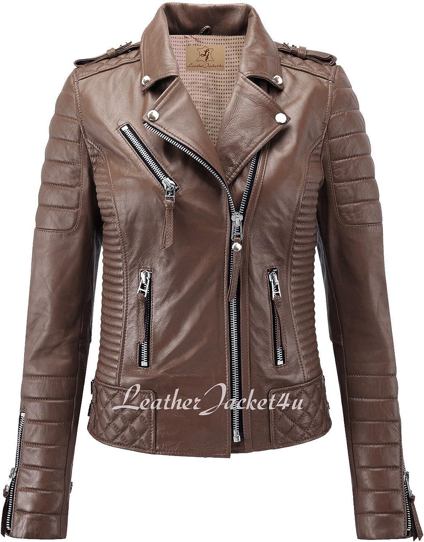 Women's Stylish Lambskin Genuine Leather Motorcycle Biker Jacket Brown