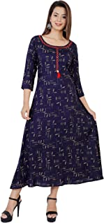BANAS Women's Rayon Festive & Party Wear Rayon Brown Print Kantha & Tassel Fring Work Anarkali Kurti (Blue)