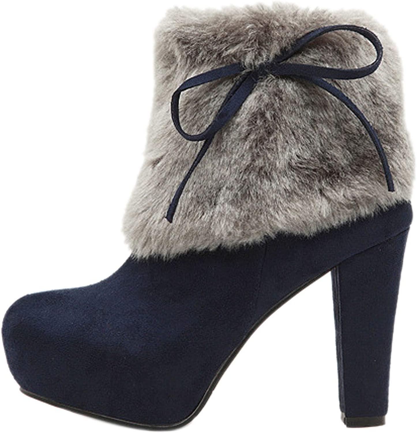 Qiyun Winter Warm Women Suede Platform High Heel Ankle Boots Bowknot Fashion shoes shoes Bottes
