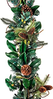 [9 Foot Artificial Christmas Garland] - Magnolia Leaf Collection - Natural Decoration - Pre Lit with 100 Warm Clear Colored LED Mini Lights - Includes Remote Controlled Battery Pack with Timer