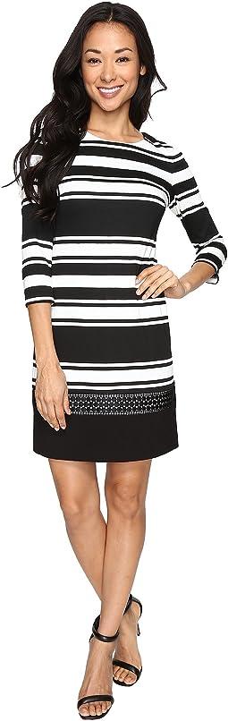 Stripe Knit 3/4 Sleeve Shift Dress w/ Lace Trim