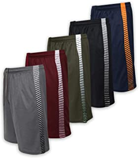 Men's Active Athletic Performance Shorts with Pockets - 5 Pack