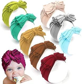AKAISIHN Baby Turbans Newborn Girl Headwraps Baby Girl Beanie Hat with Bow Hospital Nursery Hat