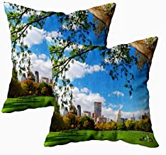 Fullentiart Fun Pillow Cases, Thanksgiving Day Gift New York City Skyline Panorama Viewed from Central Park with Cushion Soft Skin-Friendly Fade Wrinkle Resistant and Easy to Wash 18X18Inches 2Pcs