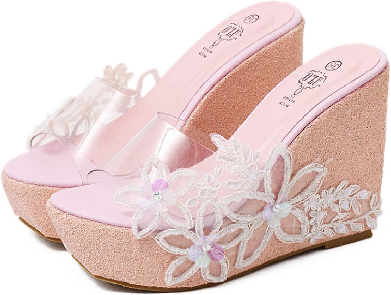 Women Open Toe Wedge Platform Heels Slide Mules Sandals Ladies Fashion Flower Sequins Clear Strap Slipper