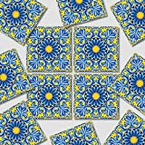 Sticker Tile Stickers Removable Yellow Blue Italian Full Peel & Stick Decal Mosaic Pack Wall Stairs Floor Furniture S Peel & Stick Vinyl Adhesive Tiles(Set 12 Units)