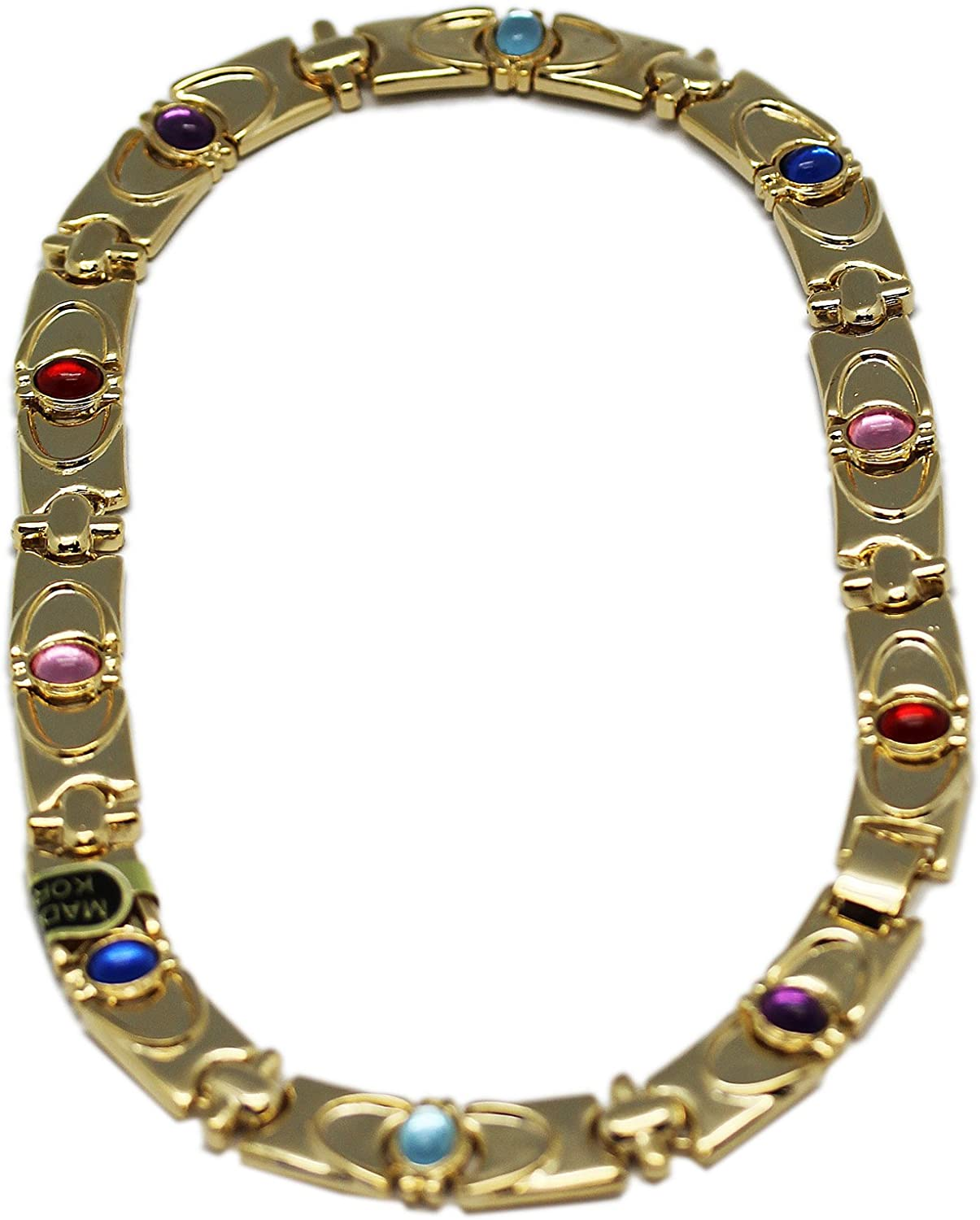 colorfully Embellished golden Chain Plate Necklace (18 Inch)