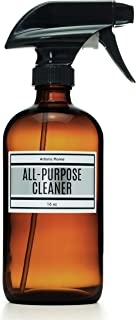 Glass Trigger Sprayer Bottle with Modern Chrome-Look ALL-PURPOSE CLEANER Label Applied, Amber