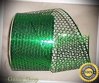 10 Yrds. Honey Comb Metallic Kelly Green Plastic Ribbon 3 1/4