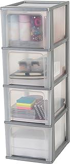 Amazon Basics 130077 Tour de Rangement 4 tiroirs Organizer Chest, Plastique, Gris, 4 x 13 L