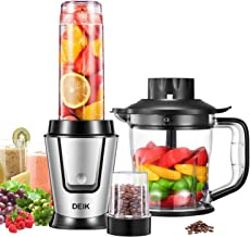 Deik Personal Blender Smoothie Maker with Coffee Grinder and 1.2 L Kitchen Food Processor, 3 in 1 Multi Portable Mini Juicer, 600ml Tritan Travel Bottle, 4 Stainless Steel Sharp Blades, 500W
