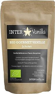 InterVanilla BIO Gourmet Vanilleschoten aus Papua-Neuguinea. 5 Stück á 14 cm. Vanilla Tahitensis. Alternative zu Bourbon Vanille Südsee oder Tahiti Vanilleschoten.