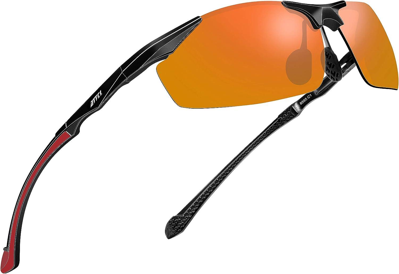 ATTCL Lunettes de Soleil polarisées pour Hommes pêche Sportive Conduite en métal Al-MG Cadre Ultra-léger Rouge