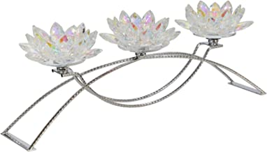 "Sagebrook Home 14827-04 METAL/GLASS 16"" 5 LOTUS CANDLE HOLDER, RAINBOW, L x 5"" W x 6"" H, Silver"