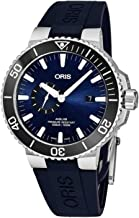 Oris Aquis Small Second Date Mens Stainless Steel Automatic Diver Watch - 45mm Analog Blue Face Blue Rubber Band Swiss Luxury 500M Waterproof Dive Watch for Men 01 743 7733 4135-07 4 24 65EB