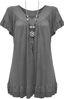 a7276212c773 Urban Diva Vanilla Inc Womens Ladies Plus Size Frill Necklace Gypsy Ladies  Tunic Short Sleeve Long