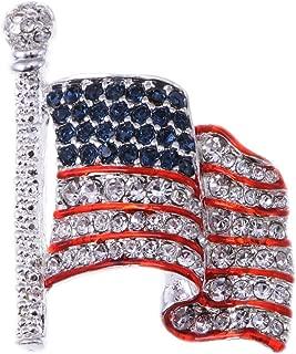 Alilang Silver Tone Crystal Rhinestone 4th of July American USA Flag Patriotic Pin Brooch