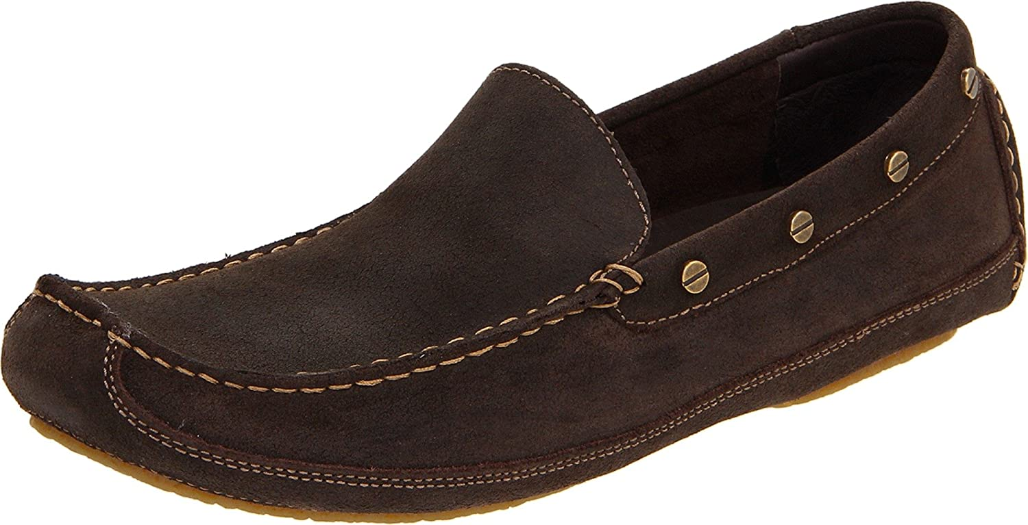 RJ Colt Men's Waxed Suede shoes, Chocolate Brown, Slip-On, 12 D US