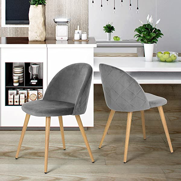 HOMY CASA Set Of 2 Dining Chairs Scandinavian Design Fabric Pineapple Velvet Pattern Seat Pad Print Wood Leg Grey