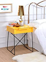 Major-Q Retro Styled Side Table with Metal Base for Bedroom/Living Room/Game Room, Yellow Finish 18 x 15 x 22