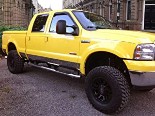 Made in USA! Works with 1999-2010 Ford F-250 Superduty Crew Cab Short Bed Rocker Panel Chrome Stainless Steel Body Side Moulding Molding Trim Cover 8.75